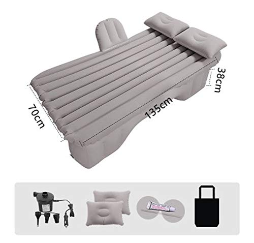 Inflatable Car Air Mattress with Pump (Portable) Travel, Camping, Vacation Back Seat Blow-Up Sleeping Pad Truck, SUV, Minivan-Gray-C