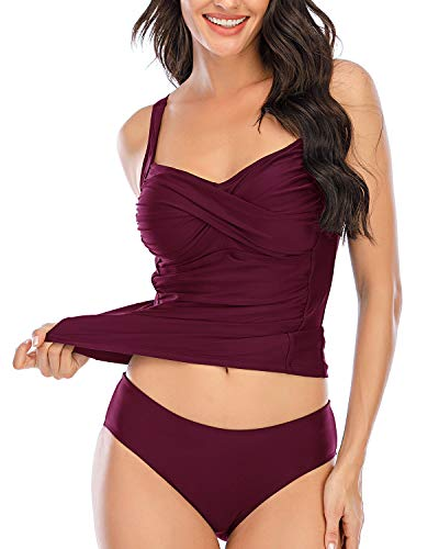 zeyubird Women Two Piece Ruched Cross Tankini Set Wrap Twist Tummy Control Swimsuit Bathing Suit with Bottoms Purple Red 2XL