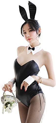 RLYJZ Bodysuit Kostüm Frauen Dessous Set Bunny Girl Cosplay Sexy Kleidung,Black-OneSize