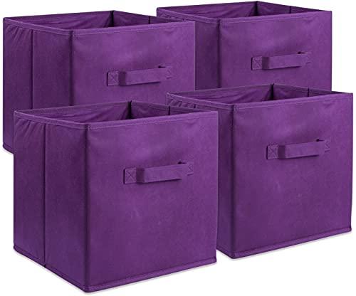 GREATOOL Caja de Almacenaje Plegable, Pack 4 Unidades 31x31x31cm, Cajas organizadoras en Tela, Caja para organizar Ropa, Juguetes y Sábanas en Armarios (4 Unidades, Violeta)