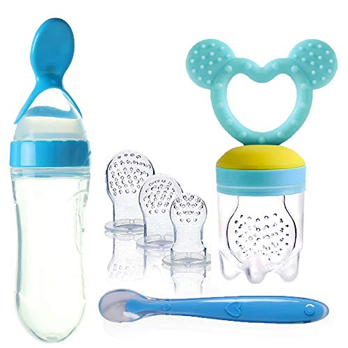 Gedebey Baby Food Feeder, Pacifier Fruit- Fresh Frozen Fruit Pacifiers Nibbler Hygienic Cover Newborn with Meshes Sizes for Baby Food