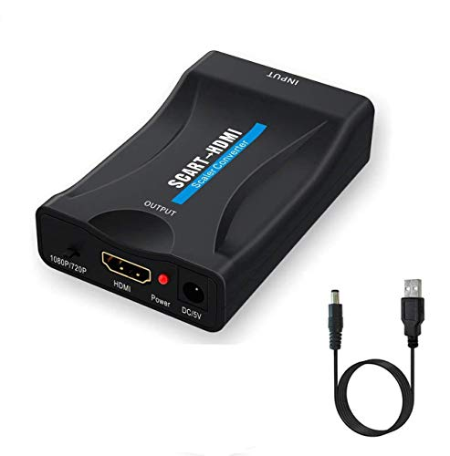 Scart Péritel vers HDMI Adaptateur, Convertisseur Péritel vers HDMI avec Câble, 720/1080P Scaler Vidéo Audio péritel vers HDMI Adaptateur Compatible avec NTSC PAL pour PS3, PS4, Blu Ray, TV, DVD