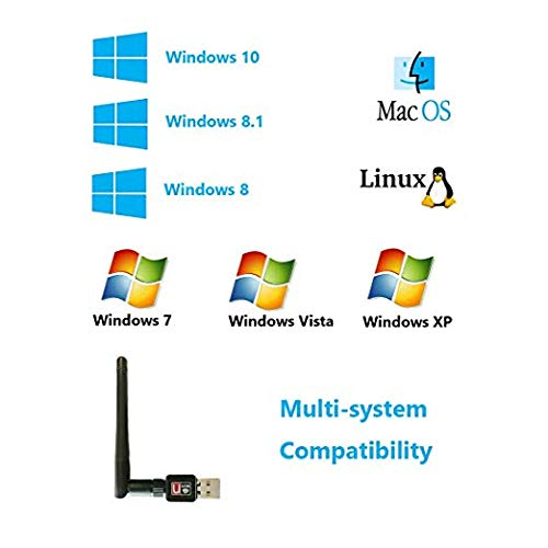 Storite WiFi Dongle with Antenna Wireless 150Mbps USB 2.4GHz Dongle 802.11n Plug and Play USB WiFi Adapter for Windows 10//8.1//8//7//XP//Vista//Linux//Mac//OS X 10.6-10.13//Raspberry Pi//Pi 2