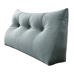 velveteen reading pillow for two grey