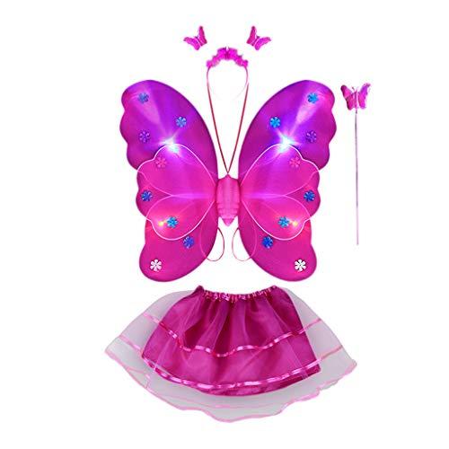 Surfiiy Costume da Fata Farfalla per Bambina 4 Pezzi LED Costume Farfalla con Ali di Farfalla e Bacchetta Magica, Gonna tutù e Copricapo Farfalla per Ragazze (Rosa Caldo)