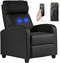 Recliner Chair for Living Room Massage Recliner Sofa Reading Chair Winback Single Sofa Home Theater Seating Modern Reclining Chair Easy Lounge with PU Leather Padded Seat Backrest