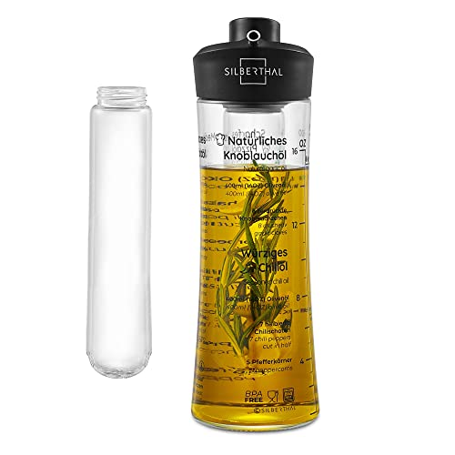 SILBERTHAL Oliera salvagoccia Peperoncino Piccante   Oliera in Vetro 500 ml   Bottiglia Olio con infusore per rosmarino   Dispensatore Olio Cucina