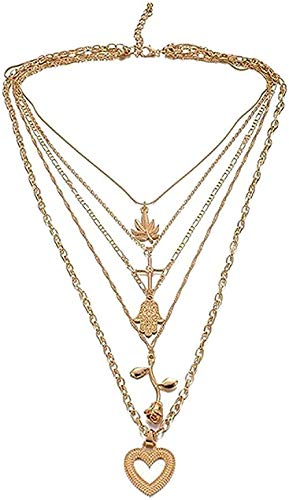 BEISUOSIBYW Co.,Ltd Collar Vintage Collar Multicapa Flor Cruz Colgante Collar de Perlas de Vidrio Luna Estrella Estrella Cuerno Cuerno Media Luna Collar Joyería Femenina Collar