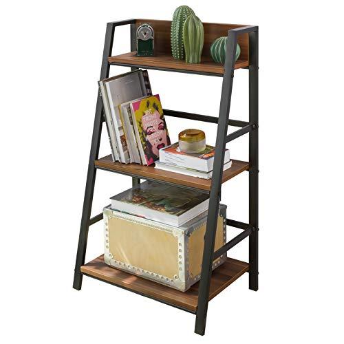 SoBuy STR01-N Standregal mit 3 Ablagen Aufbewahrungsregal Bücherregal Leiterregal Standregal Allzweckregal im Industrie-Design BHT ca: 54x90x35cm