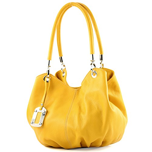 modamoda de - 228 - ital. Beuteltasche aus festem Leder, Farbe:Gelb