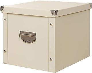 【全8色】HQUEC 収納ボックス 折り畳み 収納ケース 大容量 蓋つき 取っ手付き おもちゃ箱 書類 衣類 日用雑貨 防水 頑丈(ベージュ, 36×26×24cm)