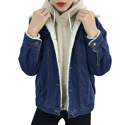 Alikea dames denim, jeansjack, blouson, jeansjack, blauw, voor vrouwen, dikke fleece, warme mantel van denim, punk, outwear dames, casual, tops, borstzakken
