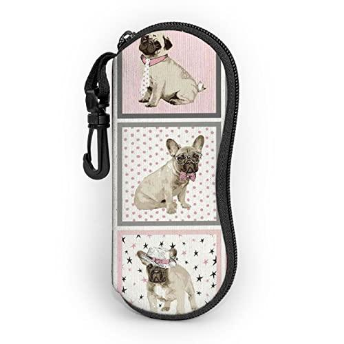 zsst Estuche para gafas de sol de neopreno con cremallera para perros, cachorros, para perros, mascotas, con protector para gafas de sol para hombres, mujeres o niños