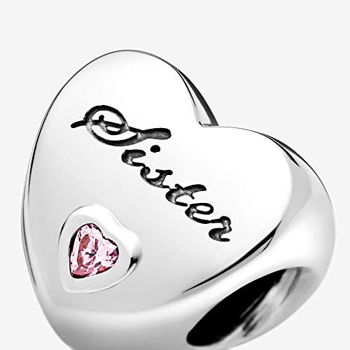 Jewelry Sister's Love Cubic Zirconia Charm in Sterling Silver