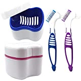 2 Packs Denture Bath Cases and 2 Packs Denture Cleaner Brushes kit, Portable Professional Denture Cups Denture Boxes Dentures Container with Removable Basket for Home Use (Blue, Pink, Purple)