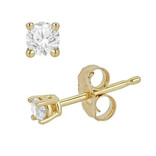 0.10 Carat Total Weight Round Diamond Stud Earrings for Women in 14K Yellow Gold (0.30cttw and up IGL Certified) (yellow-gold, 0.10)