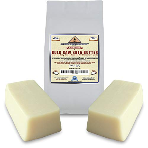 Organic Unrefined Raw AFRICAN IVORY WHITE SHEA BUTTER BLOCKS/JAR Bulk Size Grade A for Anti Aging Dry Skin Base for DIY Body Butter, Beauty and Soap Making (Ghana) (2 LB)