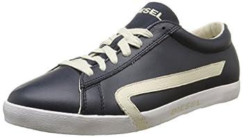 Diesel Men s Casual Shoes Bikkren Lace up Sport Fashion Sneakers  Blue Nights Birch White Numeric_7_Point_5
