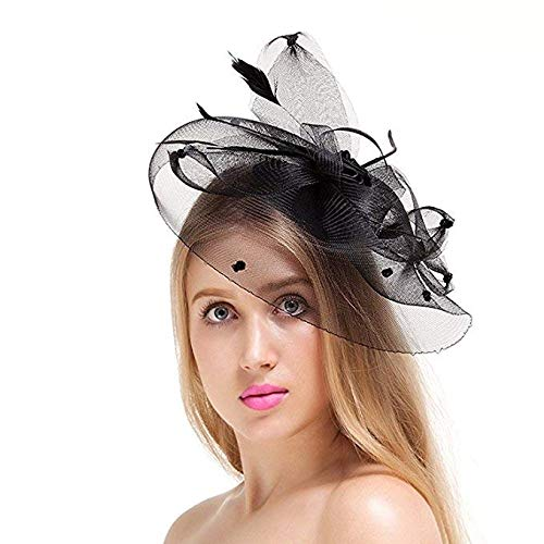 128c8c9698677 Valdler Womens Feather Mesh Net Sinamay Fascinator Hat with Hair Clip Tea  Party Derby