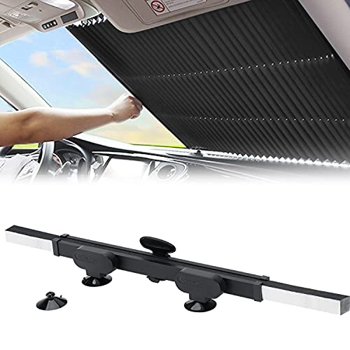 Retractable Windshield Sun Shade for Car, Large Sun Visor Protector Blocks 99% UV Rays to Keep Your Vehicle Cool, Auto Sunshade Fits Front Window of Various Models with Suction Cups 2021 New