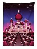 ABAKUHAUS Fantasía Tapiz de Pared y Cubrecama Suave, Palacio Árabe de Noche Cuento de Hadas Oriental Paisaje Ilustración, No se Desliza de la Cama, 110 x 150 cm, Magenta