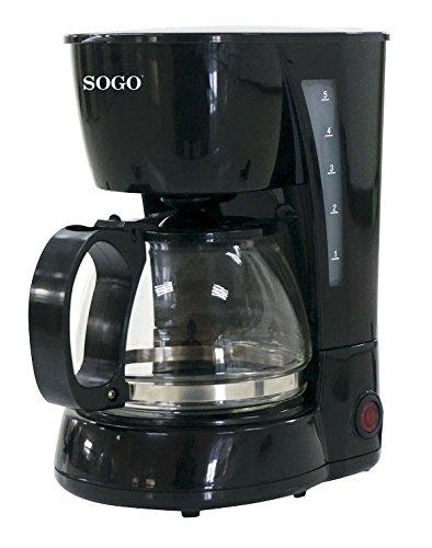 SOGO - Cafetera de Goteo eléctrica para 4 Tazas, 650W, 0,6 L, CAF-SS-5655, Color Negra: Amazon.es: Hogar