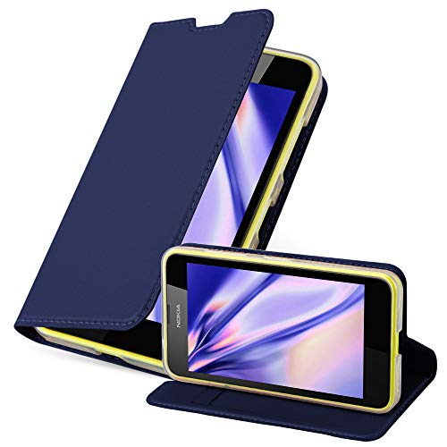 Cadorabo Hülle für Nokia Lumia 630/635 - Hülle in DUNKEL BLAU – Handyhülle mit Standfunktion und Kartenfach im Metallic Look - Case Cover Schutzhülle Etui Tasche Book Klapp Style
