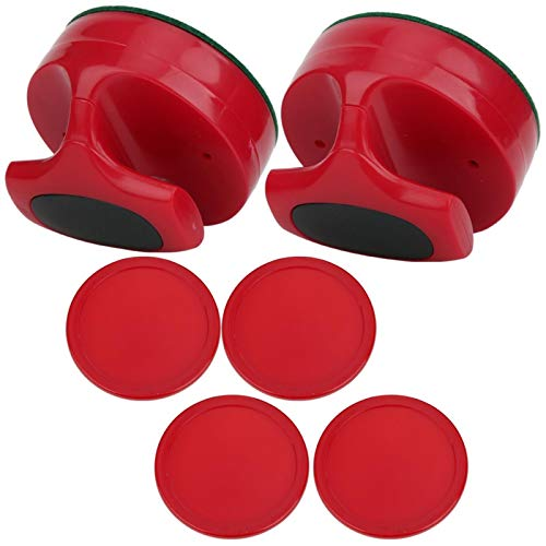 Hard Table Hockey Pushers Pucks Set, langlebige Air Hockey Pushers, Hockey Griffe Ball Mallet Goalies, ABS-Material, mit Tragetasche, für Tischspiel für Familien (2 x Hockey Pusher, 4 x Hockey Pucks)