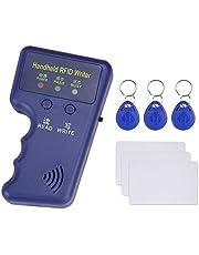 Hdliang 125 kHz handheld RFID-kopieerapparaat EM kaartlezer schrijver duplicator programma + 6 stuks EM4305 / T5577 sleutelkaarten Tokentags voor home alarm access control systeem