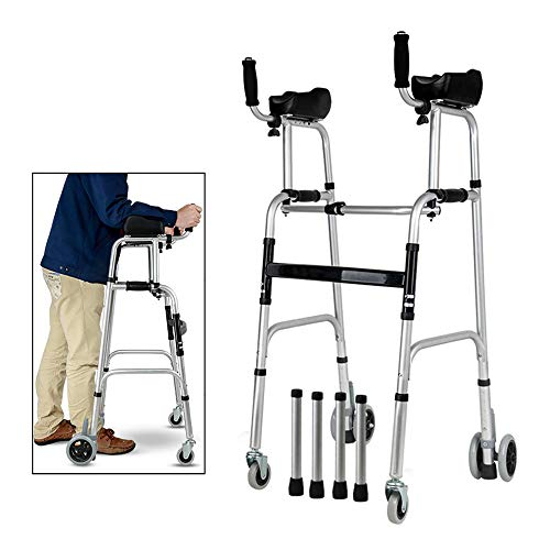 Standard Walkers Elderly People Foldable Walker Adjustable Walking Assist Equipped Wheels Equipped with Arm Rest Pad for The Limited Mobility with Disabled,FourWheels
