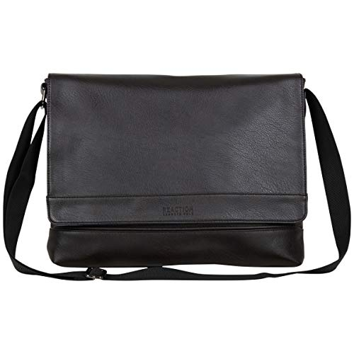 Kenneth Cole Reaction Grand Central Vegan Leather Laptop & Tablet Crossbody Travel Messenger Bag, Dark Brown, One Size