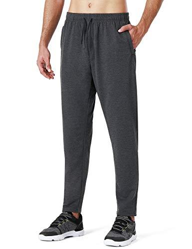 NAVISKIN Pantalones Deportivos para Correr para Hombre, Pantalones de Entrenamiento con Bolsillos con Cremallera, Medium, Gris Oscuro