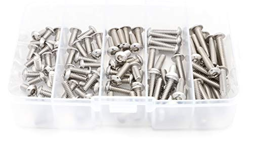 "iExcell 100 Pcs #10-24UNC x 3/8"" 1/2"" 5/8"" 3/4"" 1"" Stainless Steel 304 Hex Socket Button Head Cap Screws Hex Key Wrench Kit"