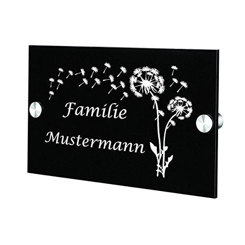 polar-effekt Acrylglas Türschild Personalisiert mit Gravur - Geschenk zum Einzug - Acrylplatte Geschenkidee für Familien - Namensschild für Haustür 20x14cm - Motiv Pusteblume