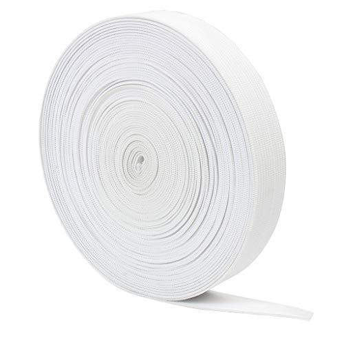 KELYDI Elastisches gestricktes flaches Band Wird zum Nähen von Hosen- und Rockzubehöre und zum selbstgemachten Kunsthandwerken verwendet (weiß) [20mm, 10m]