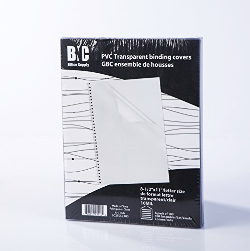 BNC 10 Mil 8-1/2 x 11 Inches, Letter Size PVC Binding Covers - Pack of 100, Clear