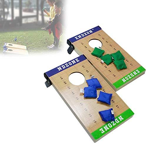 Massief houten premium maïsgatenset - Zitzak Werpspel met 2 eenvoudig te vervoeren spelplatforms met krasbestendig oppervlak, handig draaghandvat en 8 werpzakken