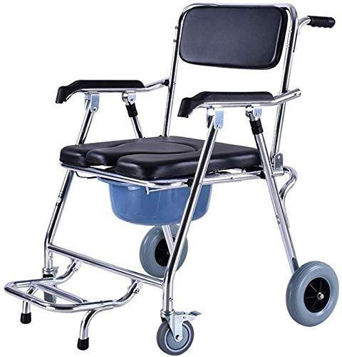 CHUNSHENN Wheelchair Foldable Wheelchair with Backrest and Armrests,Shower Bedside Commode Chair Padded Seat Commode Toilet Lightweight Rolling Shower Chair Mobile Wheeled Bathroom Wheelchairs