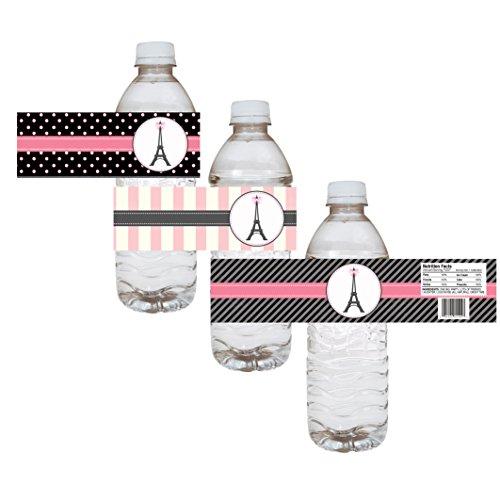 Paris Wasserflasche Etiketten - Geburtstag Baby Dusche Braut Hochzeit Party - Set von 12