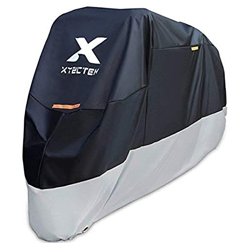 XYZCTEM Motorcycle Cover-All Season Waterproof Outdoor Protection – Fit up to 116 inch Tour Bikes, Choppers and Cruisers(XXXL,Black& Sliver)