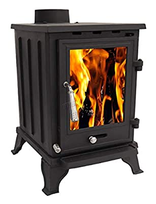 Woodburner Cast Iron Log Burner Multifuel Wood Burning Stove Fireplace 5KW CR-A5 Black