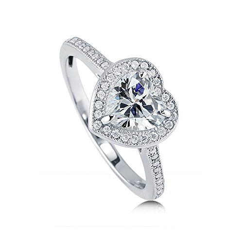 BERRICLE Rhodium Plated Sterling Silver Heart Shaped Cubic Zirconia CZ Halo Promise Wedding Engagement Ring 1.3 CTW Size 7