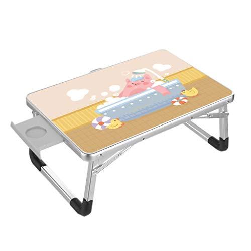 Stand Bureau Portable,Deakj Table De Lit Pliante Style Mignon Avec Tiroir for Les Résidences Étudiantes (50cm × 70cm) (Color : C)