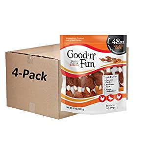 Good 'n' Fun Triple Flavor Kabobs 48 Ounce, Rawhide Snack for All Dogs (1 case of 4 Packs of 48 Oz)