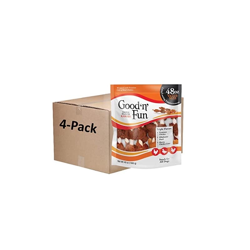 dog supplies online good 'n' fun triple flavor kabobs 48 ounce, rawhide snack for all dogs (1 case of 4 packs of 48 oz)
