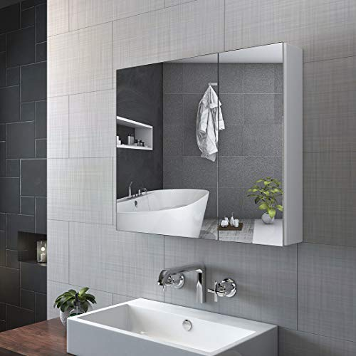 KOBEST Spiegelschrank Badezimmerschrank, Spiegelschrank Bad 75 cm breit Badschrank Weiss Badspiegelschrank mit Doppelseitiger Spiegel Badezimmerschrank