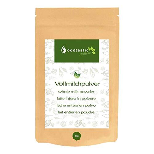 Foodtastic Vollmilchpulver 1000g / 1kg I Kaffeeweißer, Milchpulver zum Backen und zur Herstellung von Joghurt und Eis