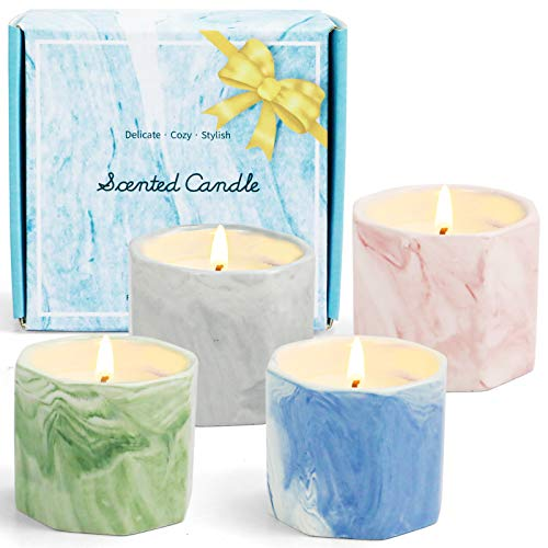 DERDUFT Scented Candles, Soy Wax Candles Gift Set, Aromatherapy Candles with Marble Exterior Design, 4×2.0oz, Including Linen, Peony, Bamboo and Cedar