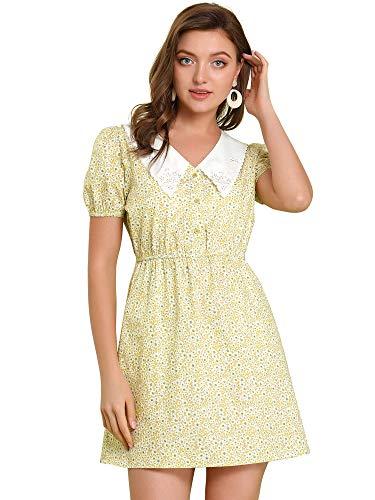 Allegra K Vestido con Bolsillos Cintura Elástica Bordado Cuello V Floral para Mujer Amarillo L