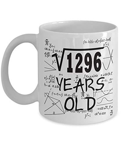 Math Formula Mug 11 OZ - Regalos divertidos de matemática para maestros, estudiantes - Raíz cuadrada de 1296-1982, 36 años de edad - 36.o Regalos de cumpleaños Ideas para mujeres, ella, esposa, chicos
